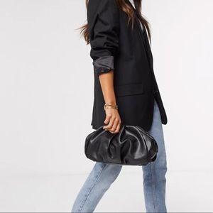 ASOS DESIGN oversized ruched clutch bag in black